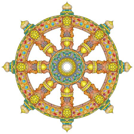 Dharma Wheel, Dharmachakra. Symbol of Buddha s teachings on the path to enlightenment, liberation from the karmic.