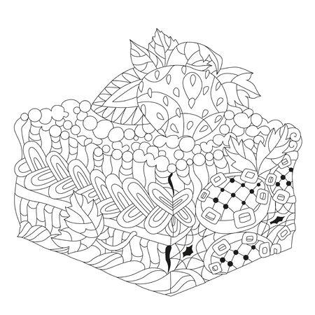 Vektorstück Kuchen mit abstrakten Ornamenten. Handgezeichnete Illustration für T-Shirt in Zentangle, Doodle-Stil.