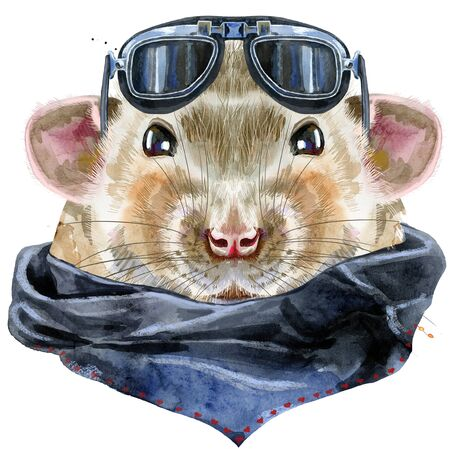 Cute rat with biker sunglasses and splashes for t-shirt graphics. Watercolor rat illustration