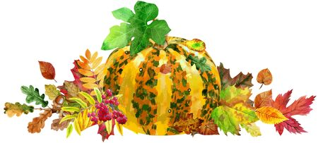 Fall leaves with striped pumpkin on white background, fall harvest