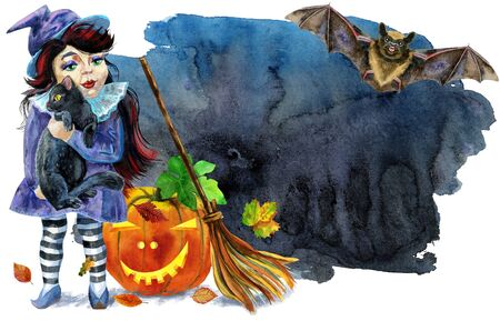 Halloween witch with black cat, pumpkin and broom on black background. Watercolor illustration Stok Fotoğraf