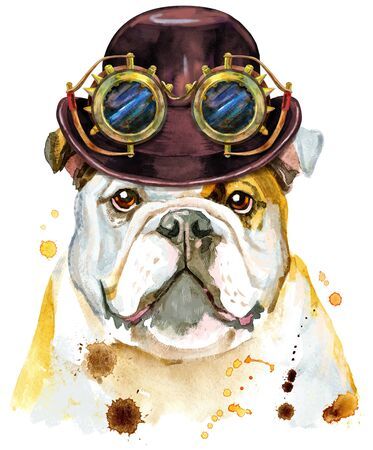 Cute Dog with hat bowler and steampunk glasses. Dog T-shirt graphics. watercolor Dog illustration