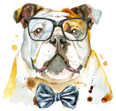 Cute Dog with bow-tie and glasses. Dog T-shirt graphics. watercolor Dog illustration