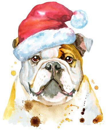 Cute Dog. Dog T-shirt graphics. watercolor Dog illustration with Santa hat