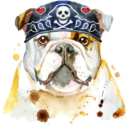 Cute Dog wearing biker bandana. Dog T-shirt graphics. watercolor Dog illustration Stok Fotoğraf