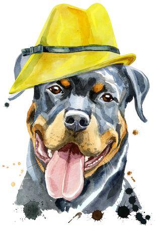 Watercolor portrait of rottweiler in yellow hat 写真素材