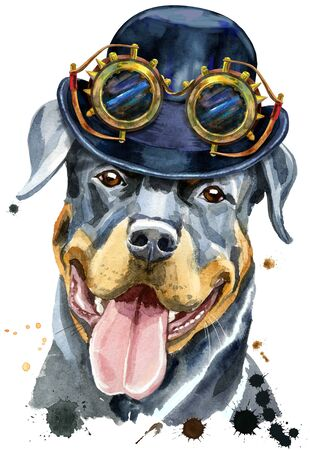 Watercolor portrait of rottweiler with hat bowler and steampunk glasses