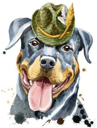 Watercolor portrait of rottweiler with green hat