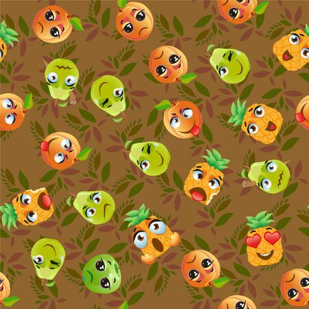 Seamless pattern exotic fruits pitahaya, pear, pineapple, apricot, apple, fruit cherry red Funny cute faces character Çizim