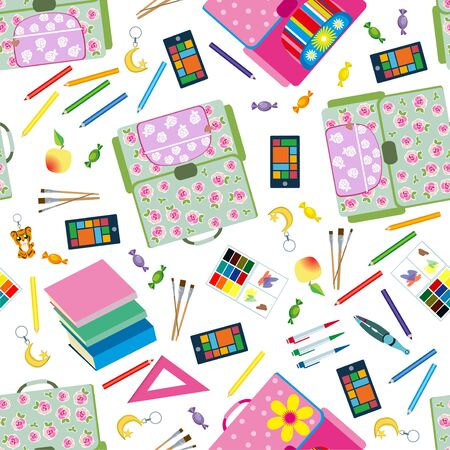 Back to School icons education seamless pattern