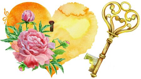 Heart, key and peonies. Watercolor illustration on a white background