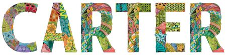 Hand-painted art design. Hand drawn illustration male name CARTER for t-shirt and other decoration