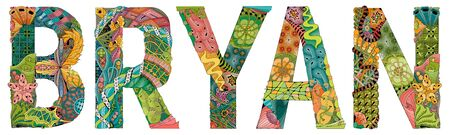 Hand-painted art design. Hand drawn illustration male name BRYAN for t-shirt and other decoration