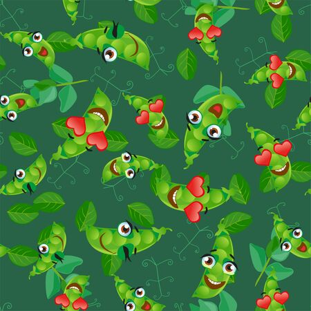 Seamless pattern with emoji green pea. Funny cute faces character  イラスト・ベクター素材