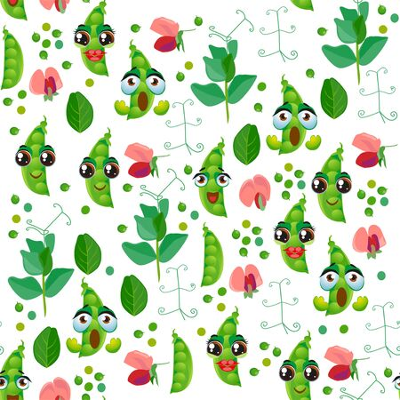 Seamless pattern with emoji green pea. Funny cute faces character 写真素材 - 137734728