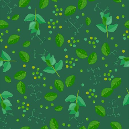 Seamless pattern with green pea. Funny cute character  イラスト・ベクター素材