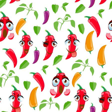 Seamless pattern Chili peppers. Funny cute faces character