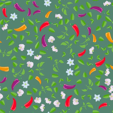 Seamless pattern Chili peppers. Funny cute character