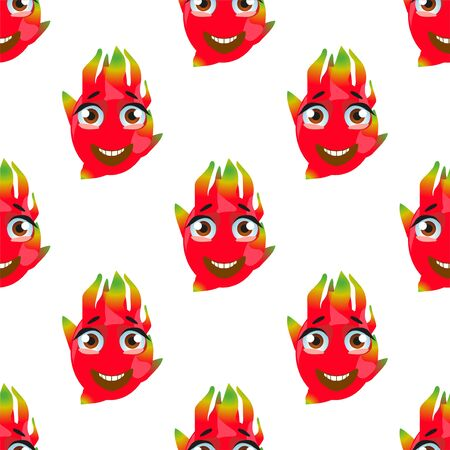 Seamless pattern exotic fruit pitaya. Funny cute faces character 写真素材 - 137734773