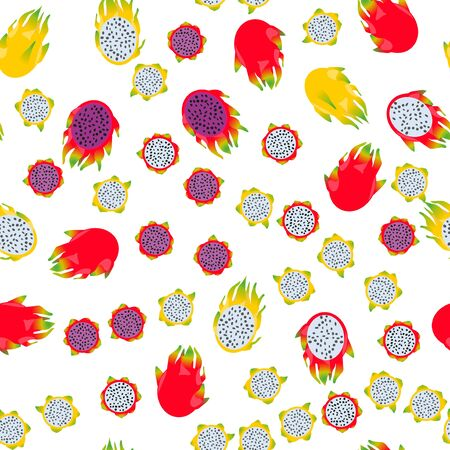 Seamless pattern exotic fruit pitaya. Funny cute faces character