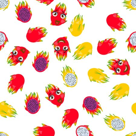 Cute seamless pattern with cartoon emoji fruits pitaya Foto de archivo - 137792818