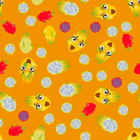 Cute seamless pattern with cartoon emoji fruits pitaya