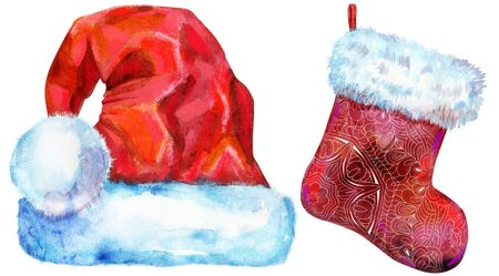 Christmas Santa red hat and sock for gift, watercolor illustration 写真素材