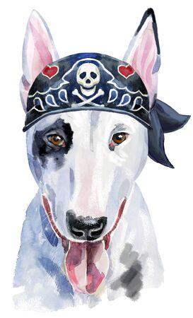 Watercolor portrait of bull terrier with biker bandana 写真素材