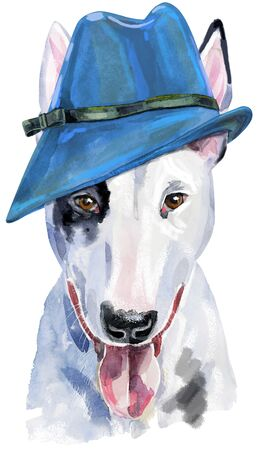Watercolor portrait of bull terrier with blue hat 写真素材