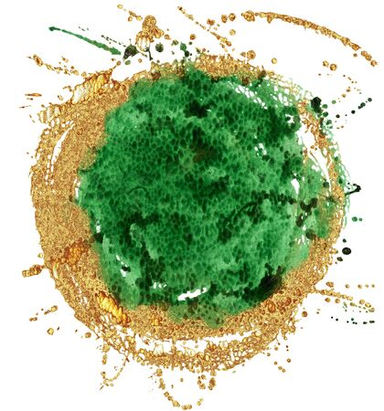 Coloured Watercolor Background. Green and gold circle