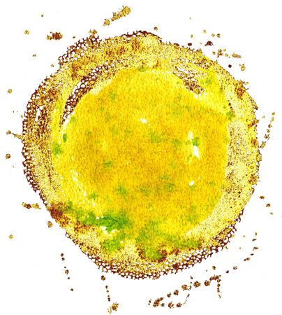 Yellow and gold watercolor circle isolated on white background