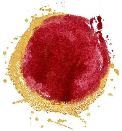 Coloured Watercolor Background. Red and gold circle