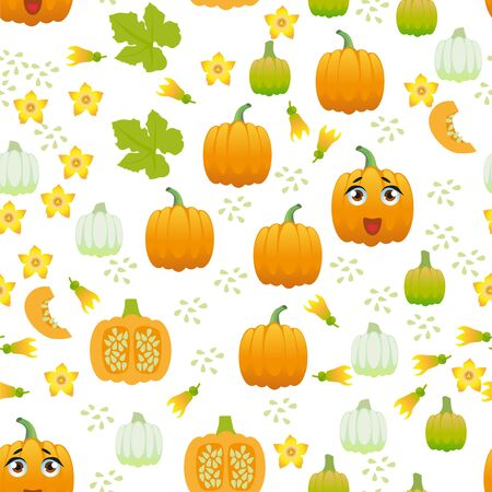 Seamless pattern pumpkin. Funny cute character