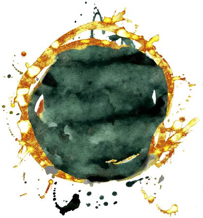 Coloured Watercolor Background. Black and gold circle