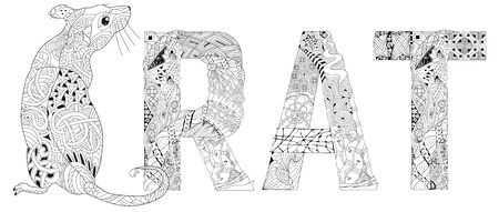stylized rat with word RAT. Hand Drawn lace vector illustration Foto de archivo - 138451959