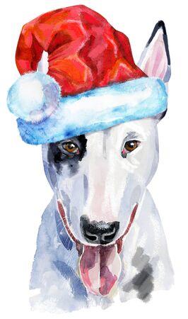 Watercolor portrait of bull terrier with Santa hat