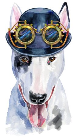 Watercolor portrait of bull terrier with hat bowler and steampunk glasses