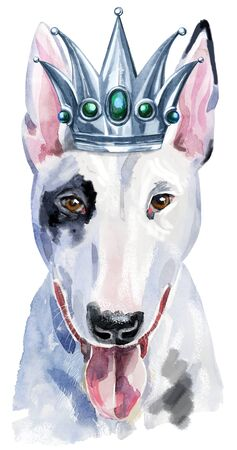 Watercolor portrait of bull terrier with silver crown