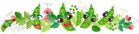 Green pea border. Funny cute faces character