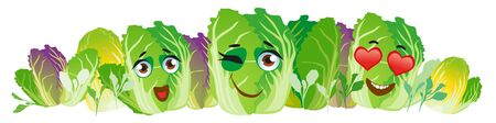 Chinese cabbage border. Cute cartoon emoji vegetables 写真素材 - 137770475