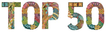 Hand-painted art design. Hand drawn illustration word TOP 50 for t-shirt and other decoration
