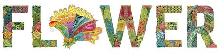 Hand-painted art design. Hand drawn illustration word FLOWER for t-shirt and other decoration