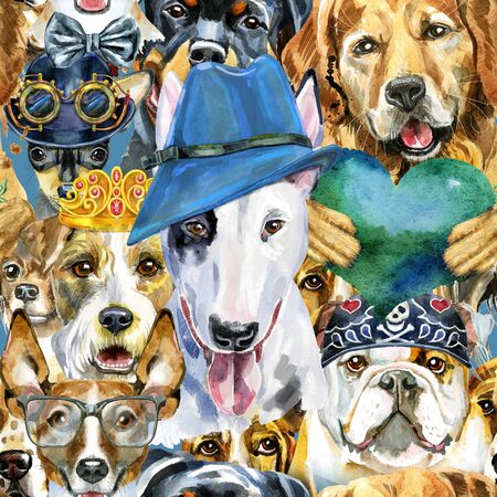 Watercolor seamless pattern of dogs on white background