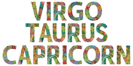 The element of Earth is the zodiac sign Capricorn, Virgo and Taurus. Vector object for decoration