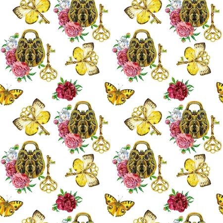 Seamless watercolor pattern with vintage hearts, keys and peonies isolated on white background