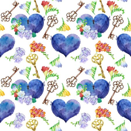 Seamless watercolor pattern with vintage hearts, keys and freesia isolated on white background