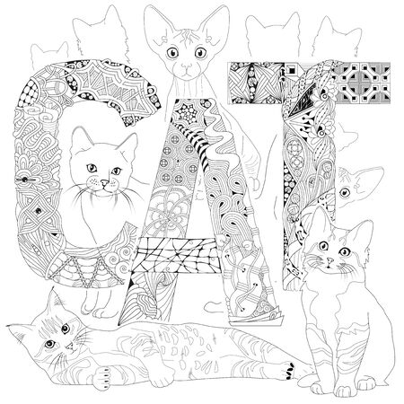 Hand-painted art design. Adult anti-stress coloring page. Black and white hand drawn illustration word CAT with silhouettes of cats for coloring book  イラスト・ベクター素材