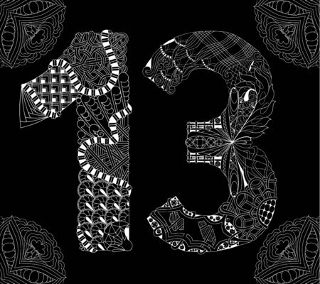 Hand-painted art design. Number thirteen object on a black background.