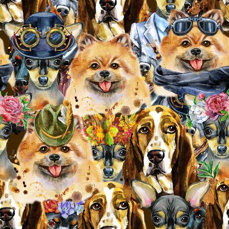 Watercolor seamless pattern of dog. Pet, puppy background. Animal wallpaper Foto de archivo - 139203927