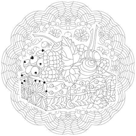Vector piece of cake on a patterned round substrate. Hand drawn illustration for coloring book for adult, doodle style. Coloring pages.  イラスト・ベクター素材